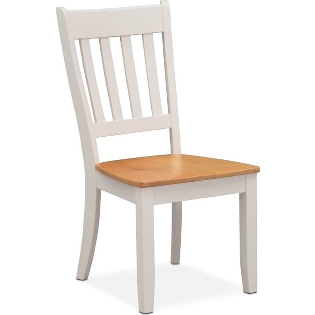Dining Room Furniture - Nantucket Slat-Back Chair - Maple and White
