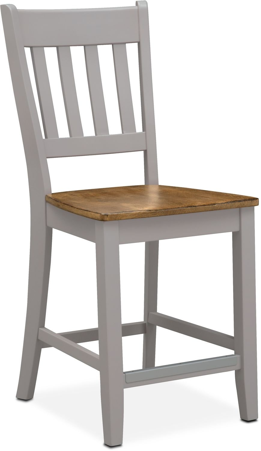 Dining Room Furniture - Nantucket Counter-Height Slat-Back Chair - Oak and Gray