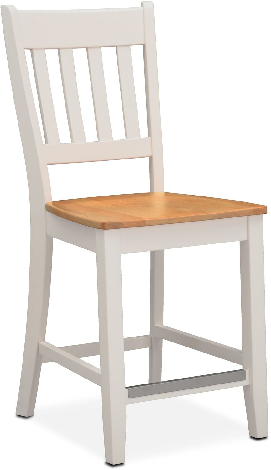 Nantucket Counter-Height Slat-Back Chair - Maple and White
