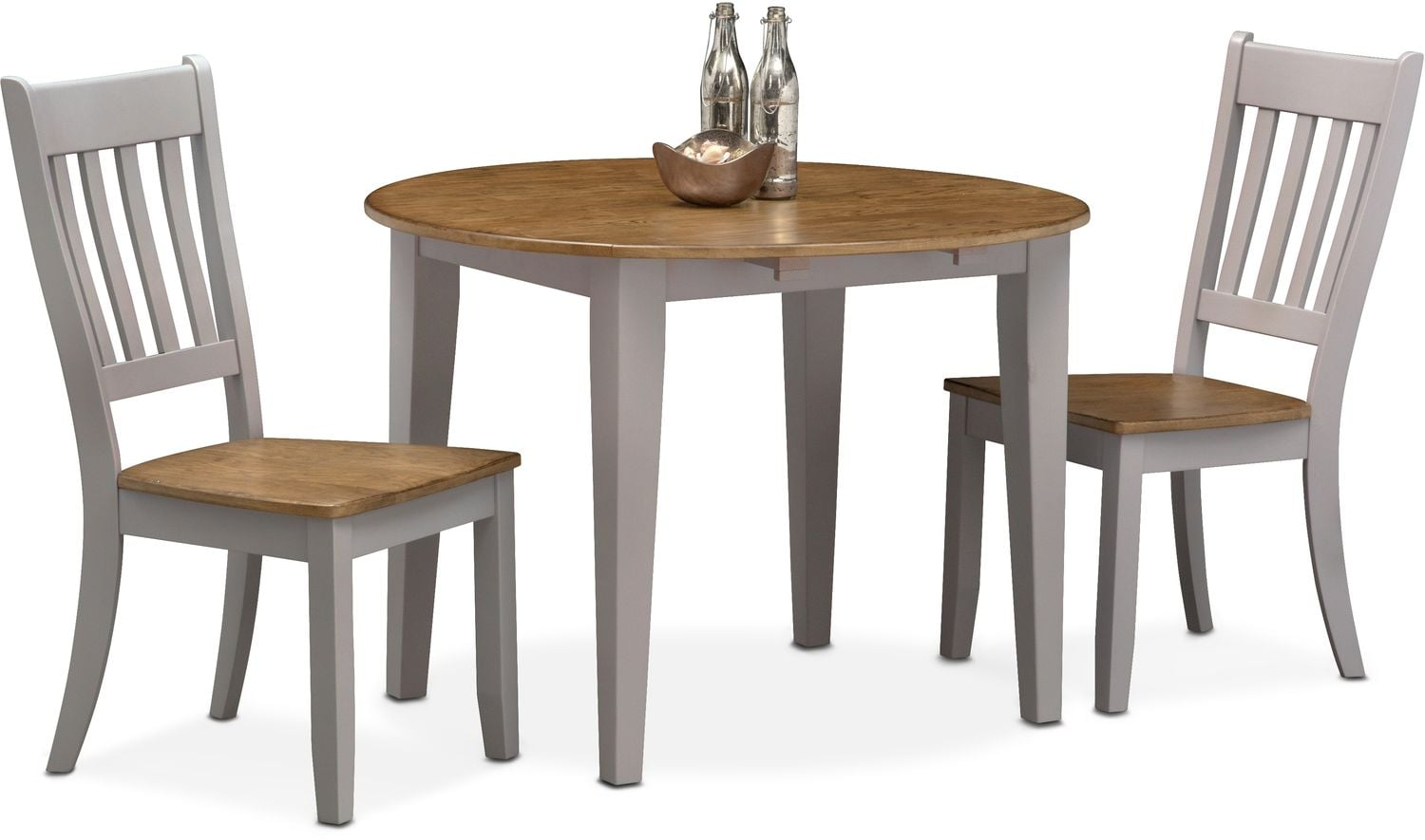 Dining Room Furniture - Nantucket Drop-Leaf Table and 2 Slat-Back Chairs - Oak and Gray