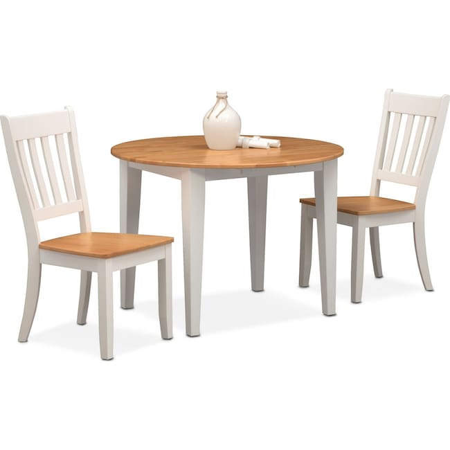 Dining Room Furniture - Nantucket Drop-Leaf Table and 2 Slat-Back Chairs - Maple and White