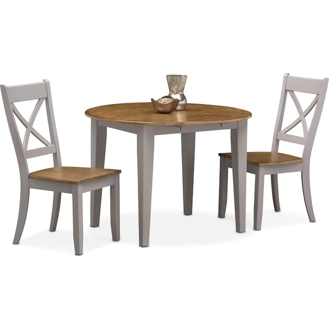 Dining Room Furniture - Nantucket Drop-Leaf Table and 2 X-Back Chairs - Oak and Gray