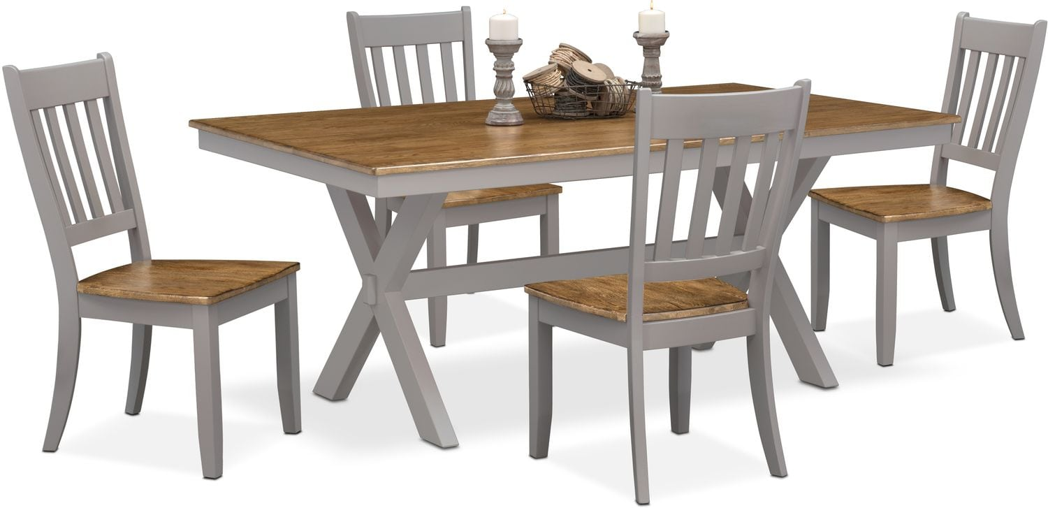 Nantucket Trestle Table and 4 Slat-Back Chairs - Oak and Gray