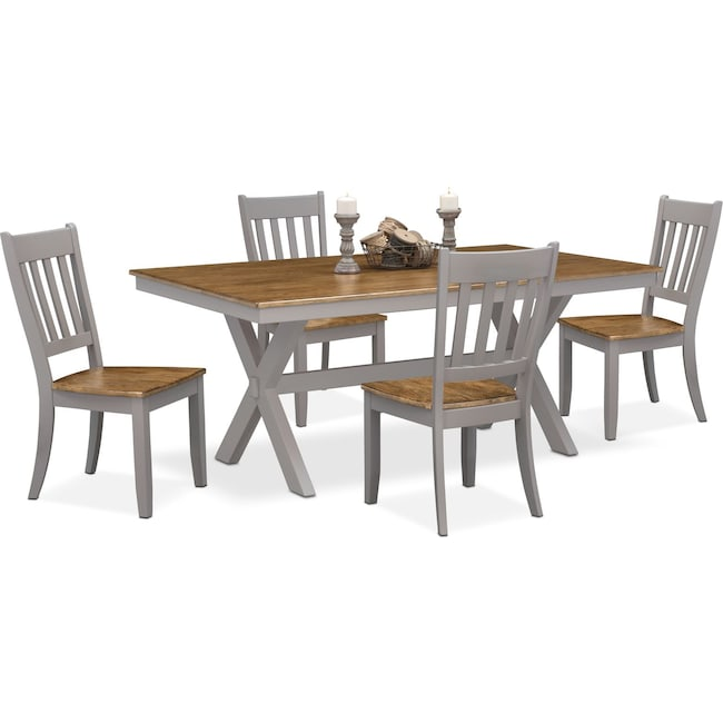 Dining Room Furniture - Nantucket Trestle Table and 4 Slat-Back Chairs - Oak and Gray