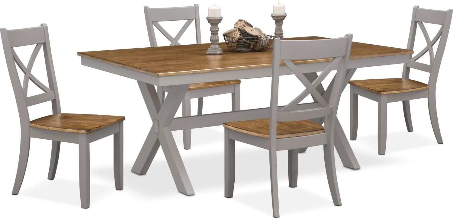 Dining Room Furniture - Nantucket Trestle Table and 4 Side Chairs