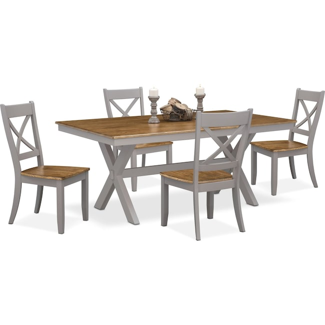 Dining Room Furniture - Nantucket Trestle Table and 4 X-Back Chairs -  Oak and Gray