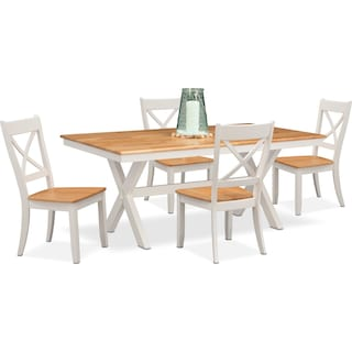 Nantucket Trestle Table and 4 Side Chairs - Maple and White