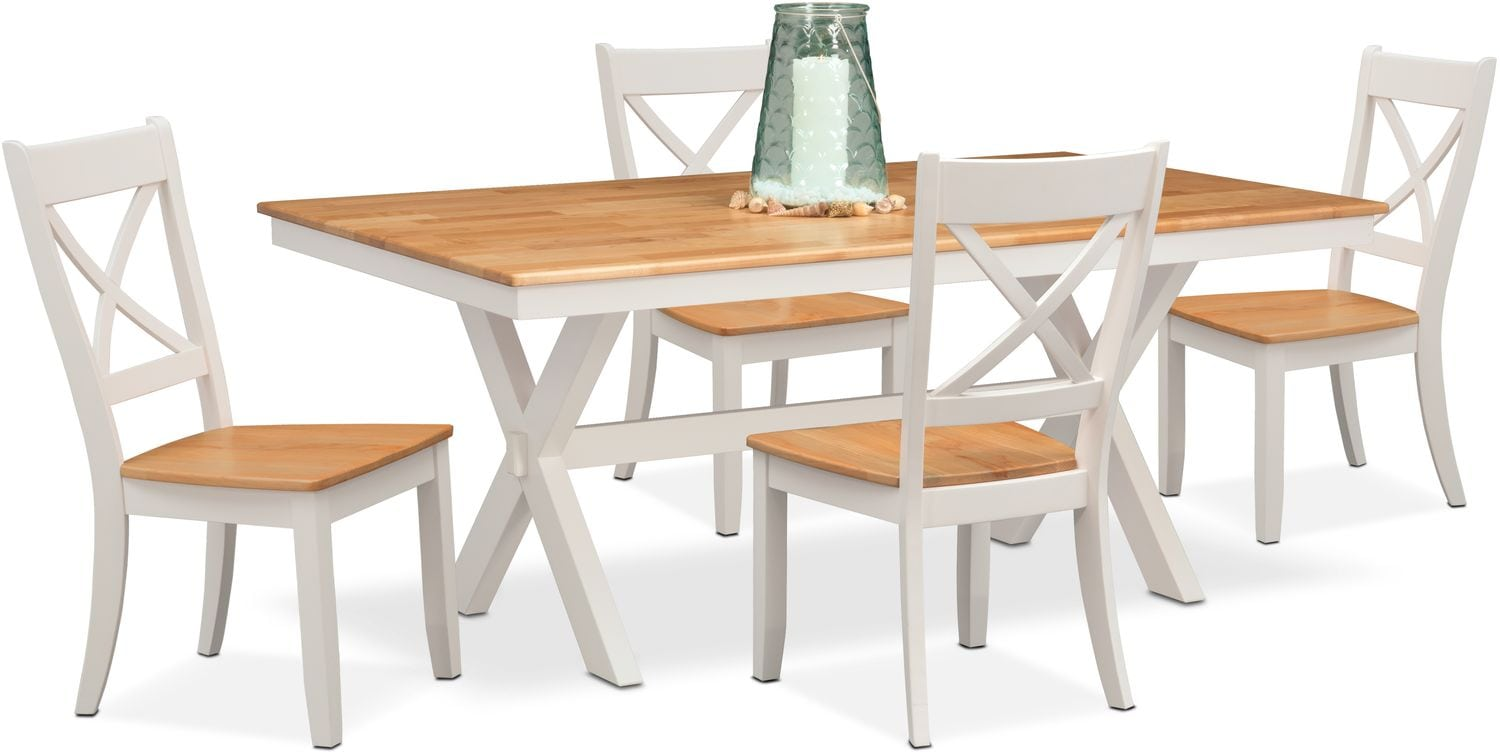 $599.95 Nantucket Trestle Table And 4 Side Chairs   Maple And White