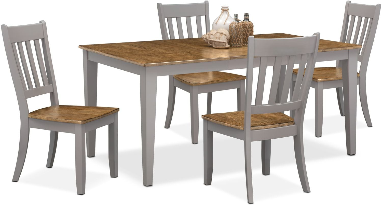 Slat Back Chairs nantucket table and 4 slat-back chairs - oak and gray | value city