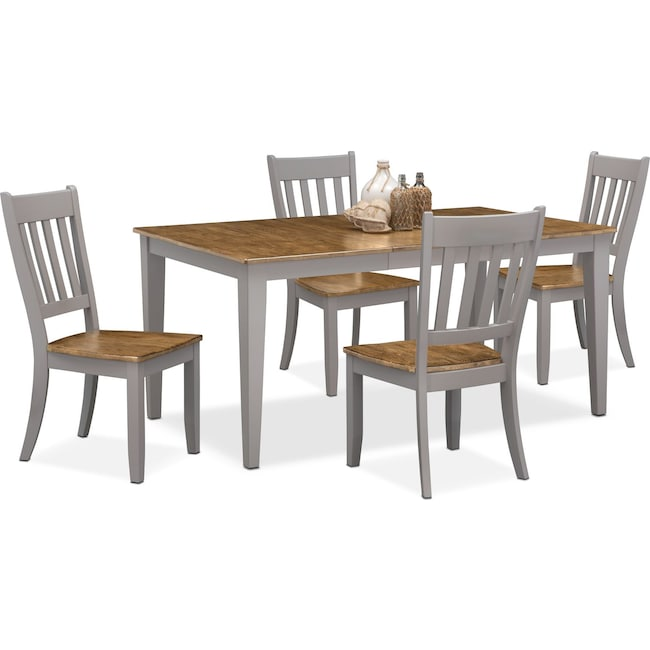 Dining Room Furniture - Nantucket Table and 4 Slat-Back Chairs - Oak and Gray