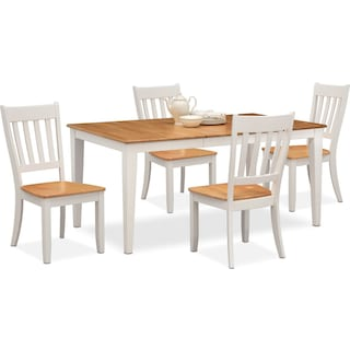 Nantucket Table and 4 Slat-Back Chairs - Maple and White