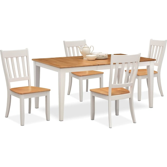 Dining Room Furniture - Nantucket Table and 4 Slat-Back Chairs - Maple and White
