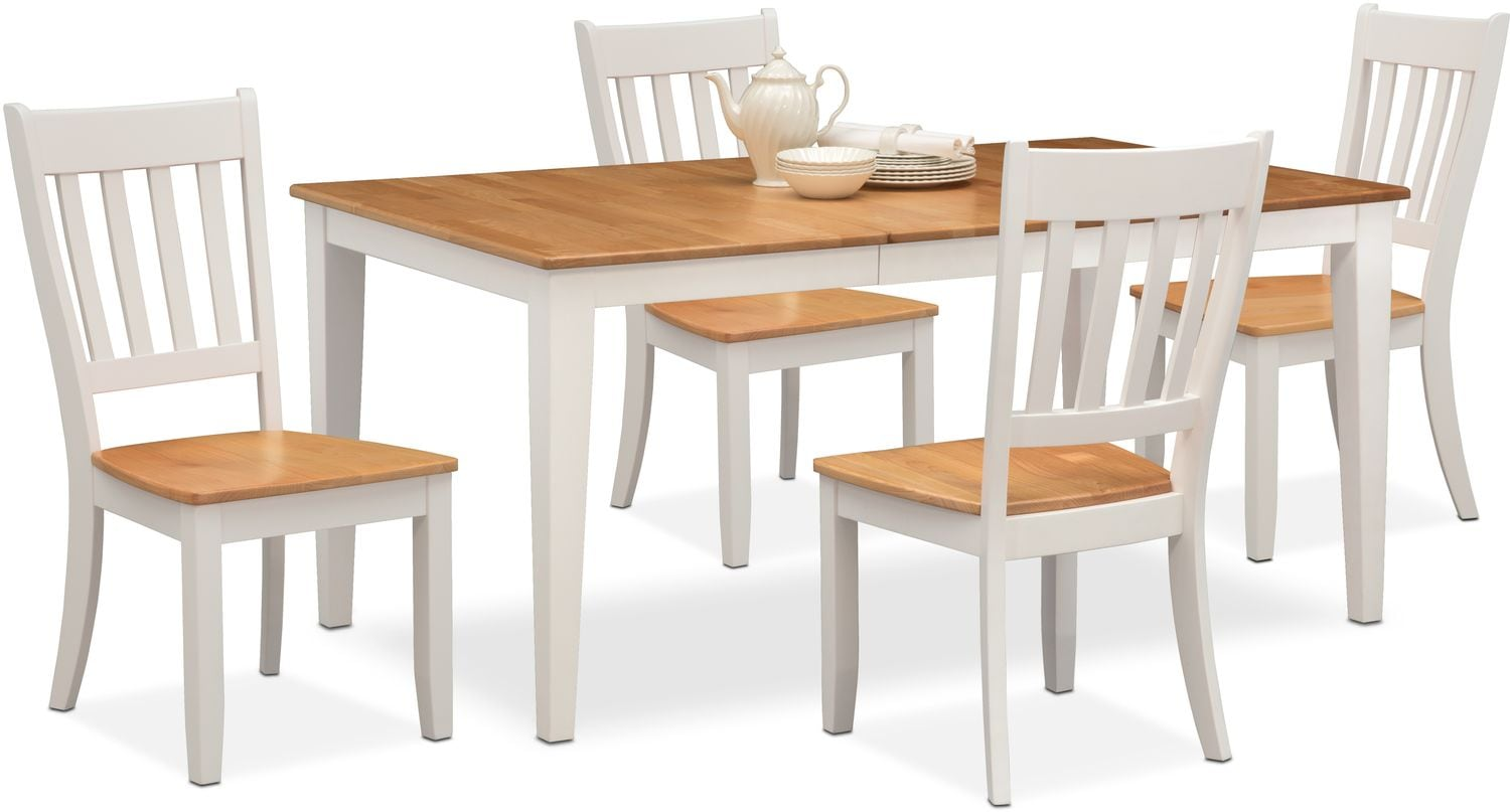 Nantucket Table And 4 Slat Back Chairs   Maple And White