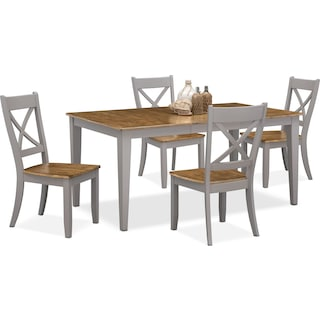 Nantucket Table and 4 X-Back Chairs - Oak and Gray