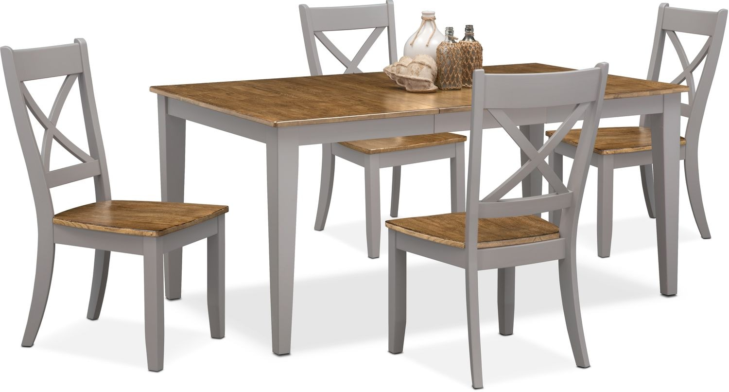 $549.95 Nantucket Table And 4 X Back Chairs   Oak And Gray