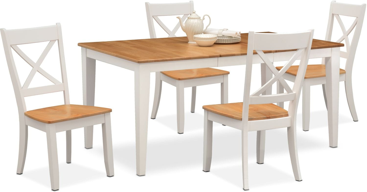 Merveilleux Dining Room Furniture   Nantucket Table And 4 Side Chairs   Maple And White