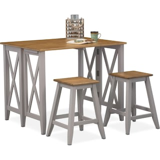 Nantucket Breakfast Bar and 2 Counter-Height Stools - Oak and Gray
