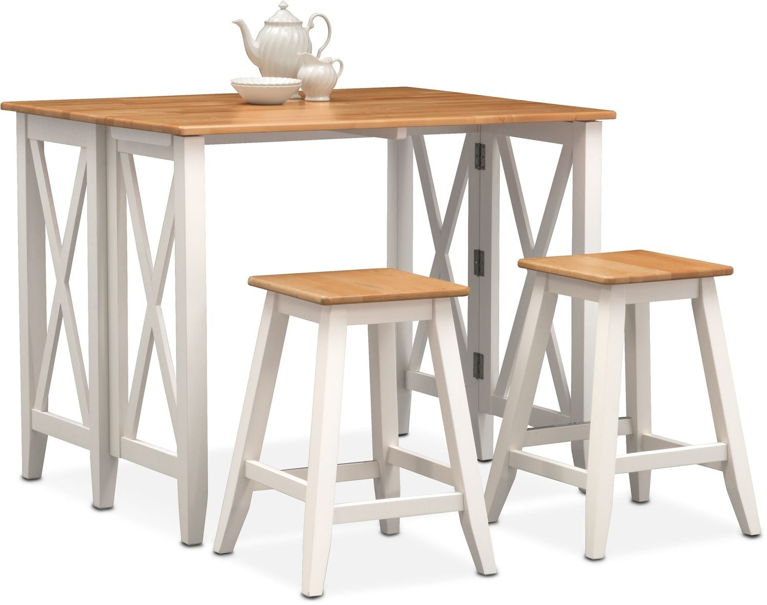 Dining Room Furniture - Nantucket Breakfast Bar and 2 Counter-Height Stools - Maple and White