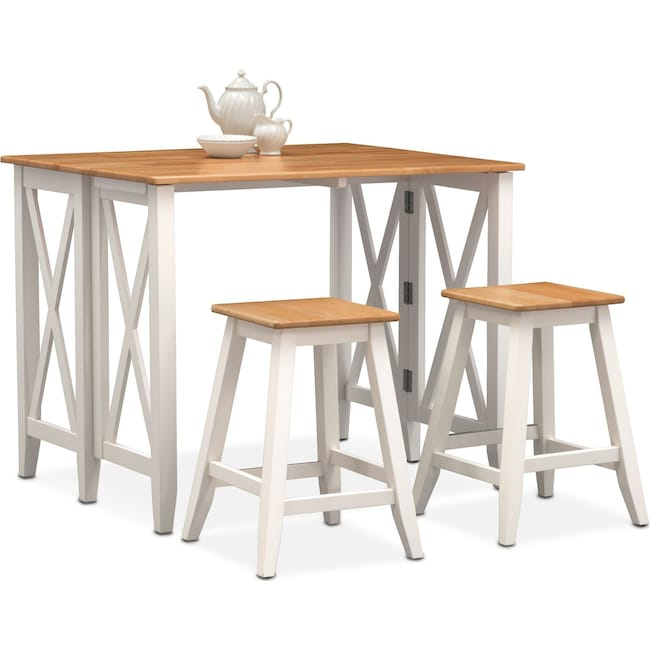 Dining Room Furniture Nantucket Breakfast Bar And 2 Counter Height Stools Maple