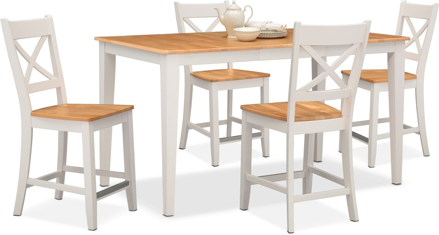 Dining Room Furniture - Nantucket Counter-Height Table and 4 Side Chairs - Maple and White