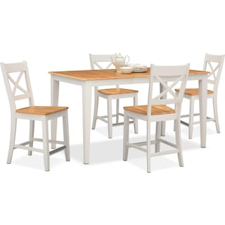 Nantucket Counter-Height Table and 4 Side Chairs - Maple and White