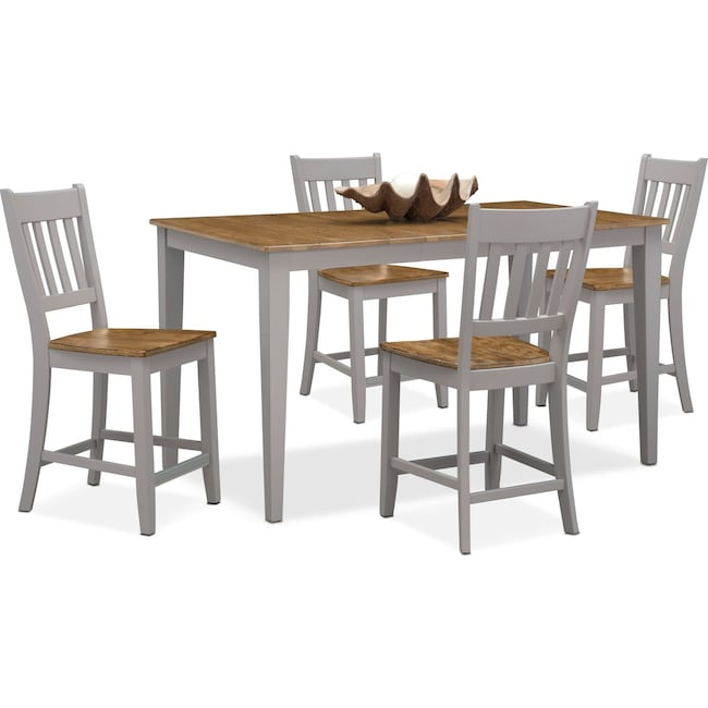 Dining Room Furniture - Nantucket Counter-Height Table and 4 Slat-Back Chairs - Oak and Gray