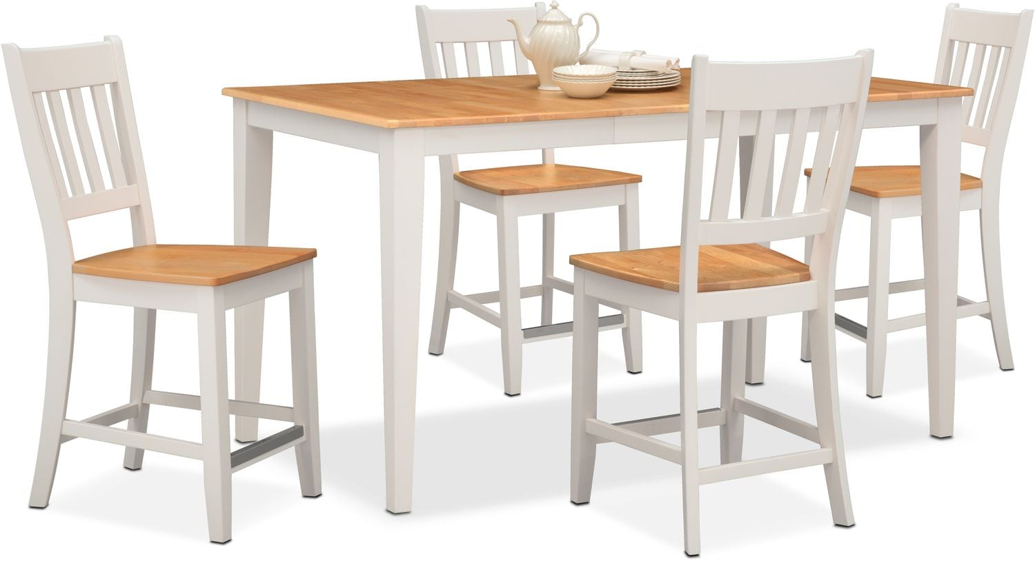 Nantucket Counter-Height Table and 4 Slat-Back Chairs - Maple and White