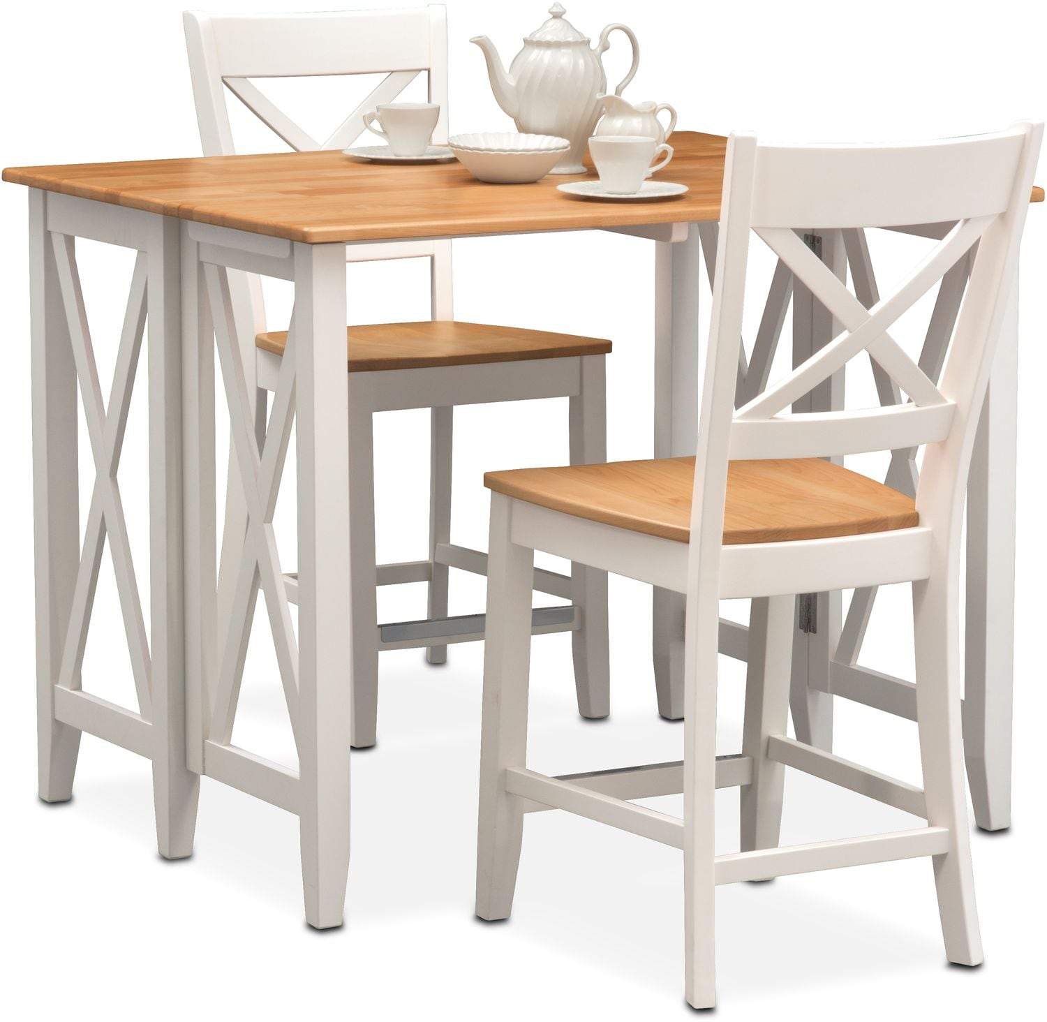 Nantucket Breakfast Bar And 2 Counter Height Side Chairs   Maple And White