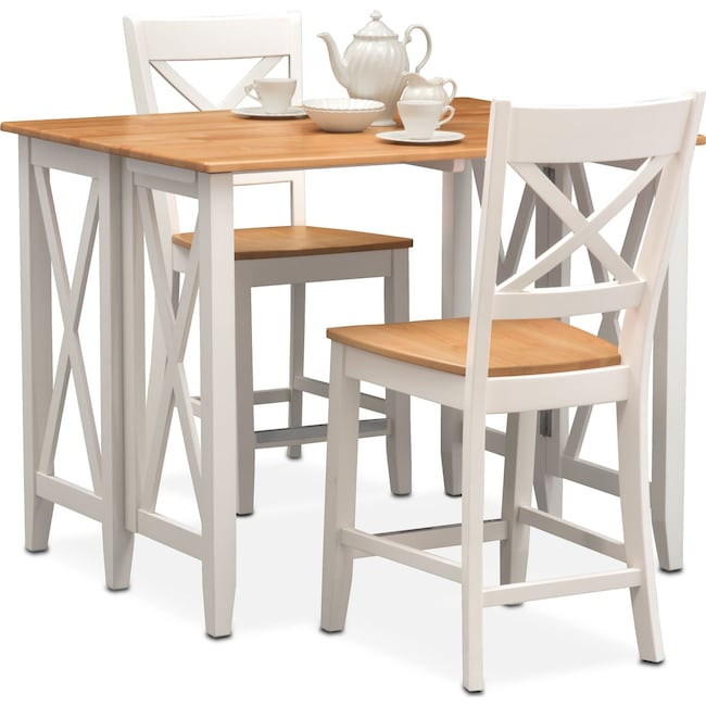 Dining Room Furniture - Nantucket Breakfast Bar and 2 Counter-Height Side Chairs - Maple and White
