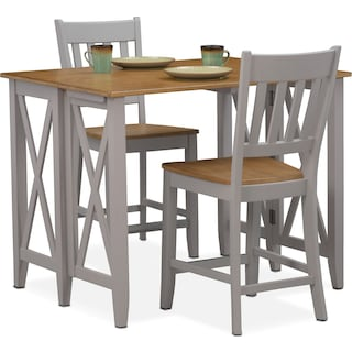 Nantucket Breakfast Bar and 2 Counter-Height Slat-Back Chairs - Oak and Gray