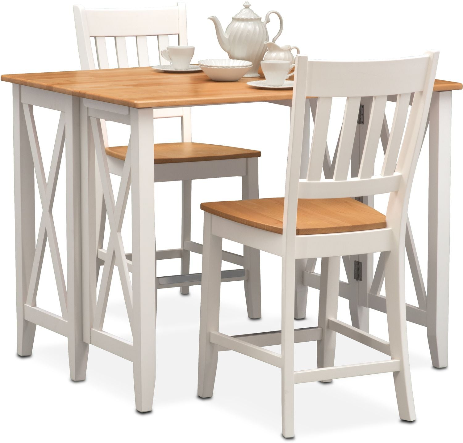 Dining Room Furniture - Nantucket Breakfast Bar and 2 Counter-Height Slat-Back Chairs - Maple and White