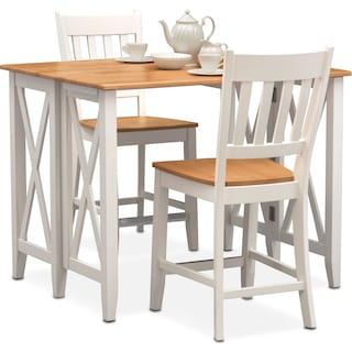 Nantucket Breakfast Bar and 2 Counter-Height Slat-Back Chairs - Maple and White