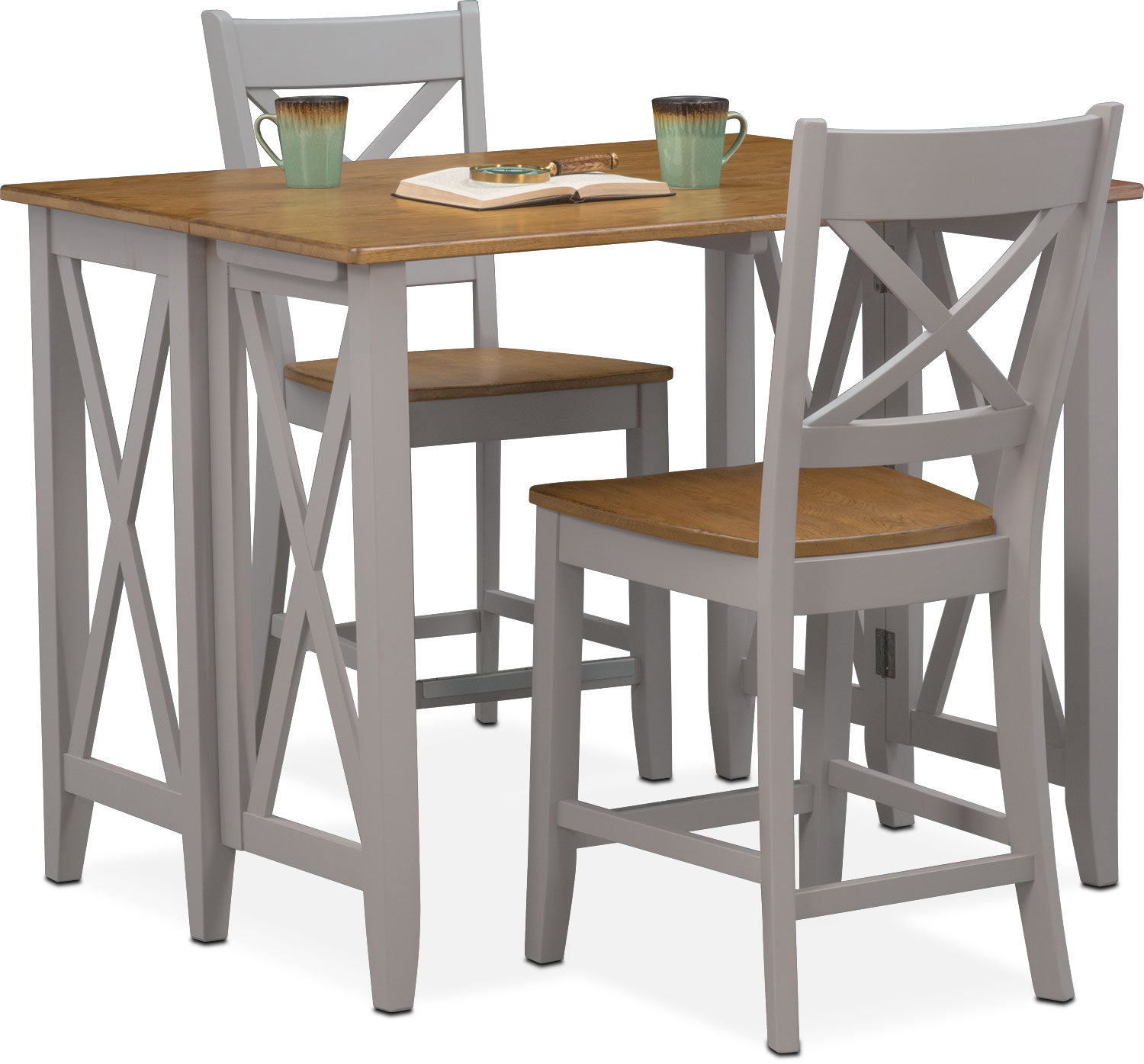 Nantucket Breakfast Bar And 2 Counter Height Side Chairs   Oak And Gray