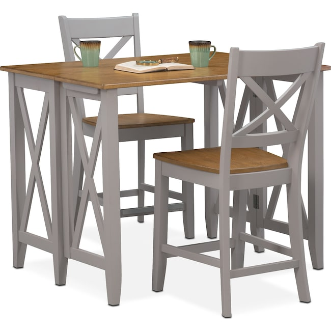 Dining Room Chairs Oak nantucket breakfast bar and 2 counter-height side chairs - oak and