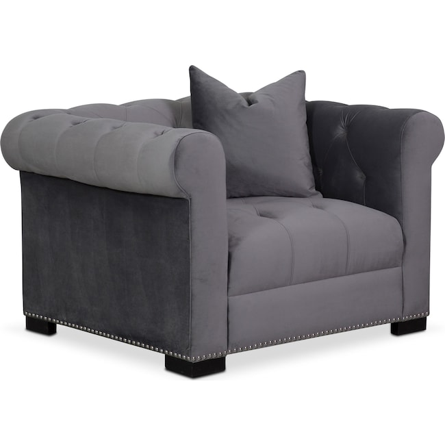 Living Room Furniture - Couture Chair - Gray