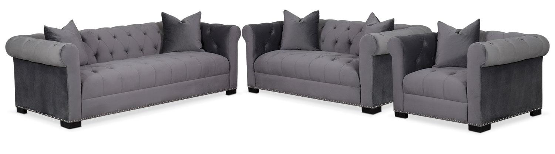 Couture Sofa, Apartment Sofa and Chair Set - Gray