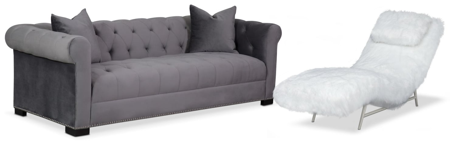 Living Room Furniture - Couture Sofa and Chaise - Gray and White