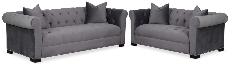 Living Room Furniture - Couture Sofa and Apartment Sofa Set - Gray