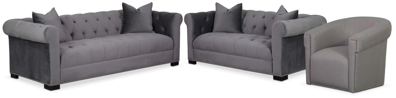Couture Sofa, Apartment Sofa and Swivel Chair Set - Gray