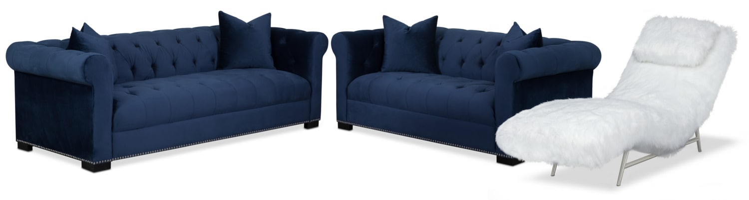 Couture Sofa, Apartment Sofa and Chaise Set - Indigo and White