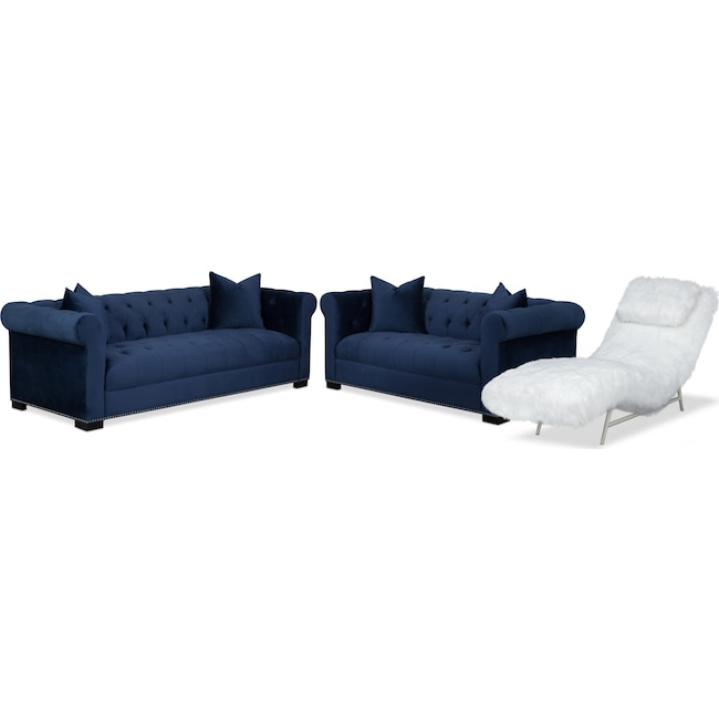 Living Room Furniture - Couture Sofa, Apartment Sofa and Chaise Set - Indigo and White
