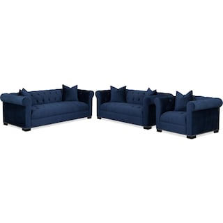 Couture Sofa, Apartment Sofa and Chair Set - Indigo