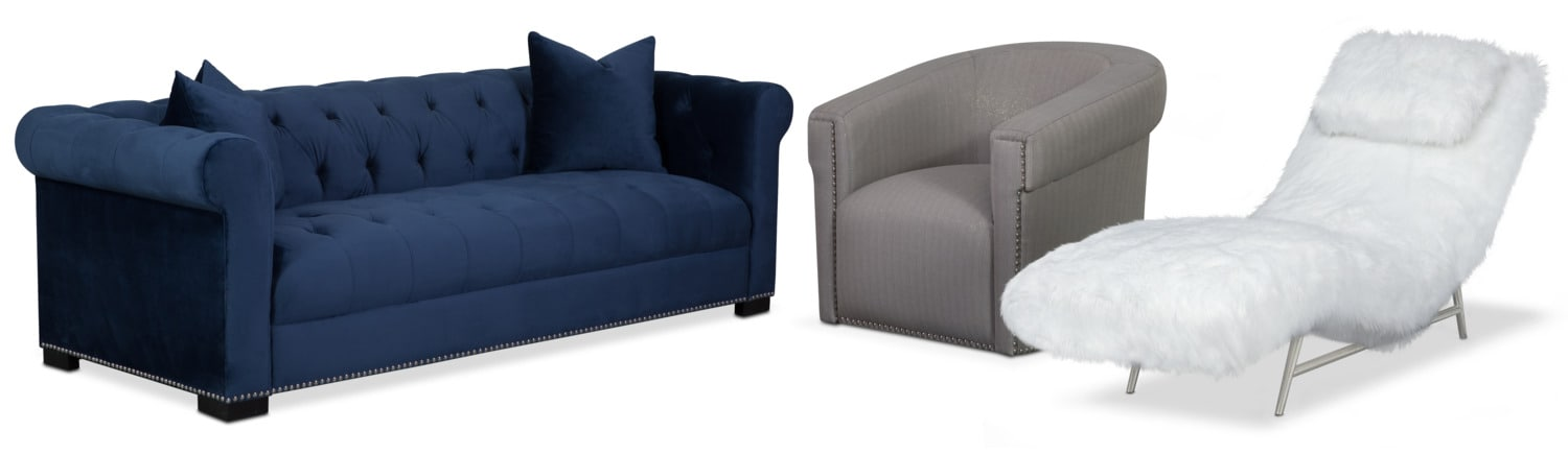 Couture Sofa, Chaise and Swivel Chair Set - Indigo and White