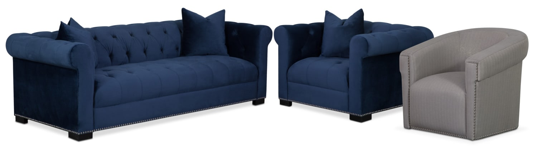 Couture Sofa, Chair and Swivel Chair Set - Indigo