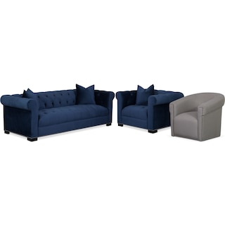 Couture Sofa, Chair and Swivel Chair Set - Indigo