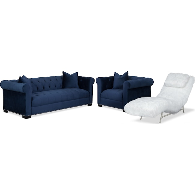 Living Room Furniture - Couture Sofa, Chaise and Chair Set - Indigo and White