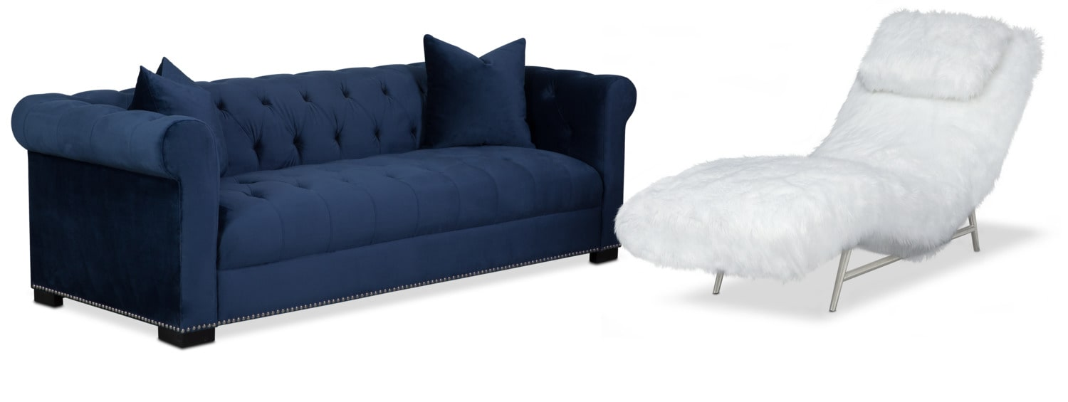 Living Room Furniture - Couture Sofa and Chaise Set - Indigo and White