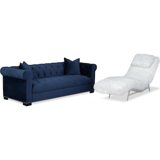 Couture Sofa and Chaise Set - Indigo and White