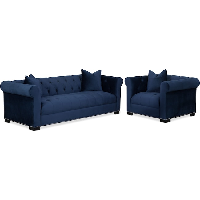 Living Room Furniture - Couture Sofa and Chair Set - Indigo