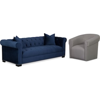 Couture Sofa and Swivel Chair Set - Indigo